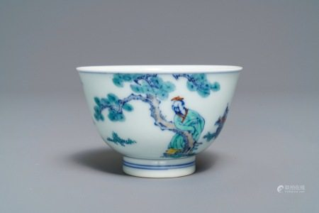 A Chinese doucai bowl with figures in a landscape, Kangxi mark, 19/20th C.