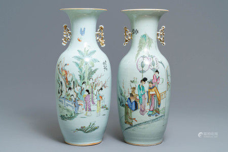 Two Chinese famille rose vases with figures in a garden, 19/20th C.