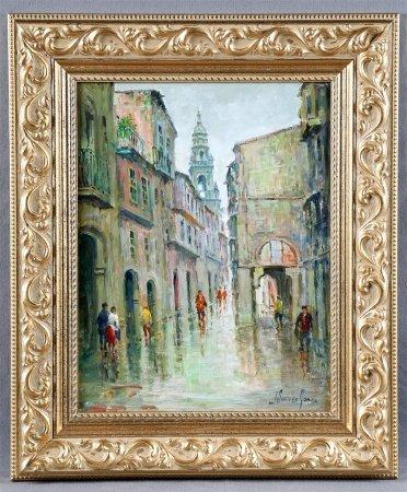 """SUÁREZ GÓMEZ, JOSÉ. """"Calle Rúa del Villar, Santiago de Compostela""""."""