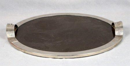 Bandeja circular, estilo Art Decó.