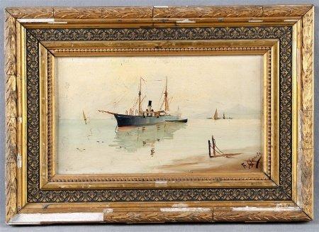 """GARCÍA, F.  """"Paisaje costero con barcos""""."""