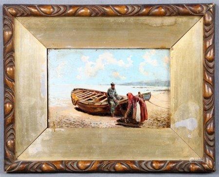 """ANÓNIMO. """"Pescadores junto a la barca""""."""
