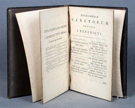 """""""Missae propiae Santorum ordinis S. Benedicti. Ex Missali Monastico Pauli V Pontificis Max, austoritate recognitum""""."""