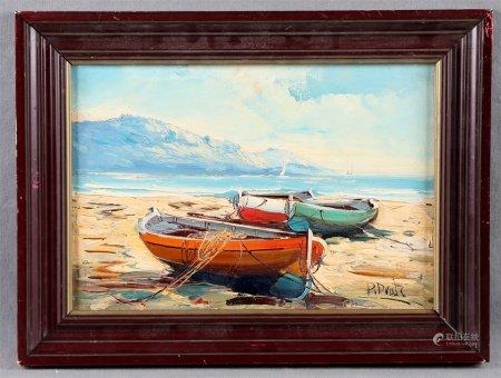 """PRATS, P.  """"Barcazas en la playa""""."""