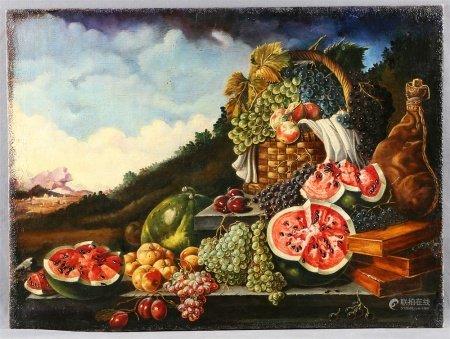 """ANÓNIMO. """"Bodegón de frutas""""."""