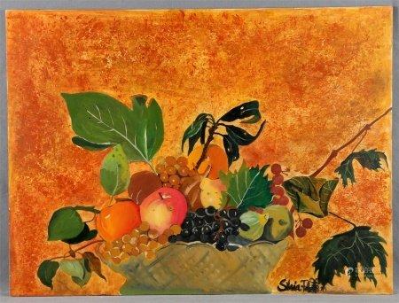 "ILEGIBLE, S.XX. ""Bodegón de frutas""."