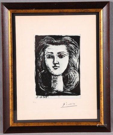 """PICASSO, PABLO. """"Tête de femme sur fond noir (Françoise)""""."""