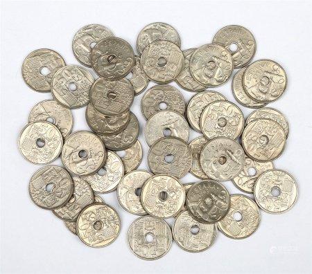Lote de 47 monedas de 50 céntimos, año 1963.