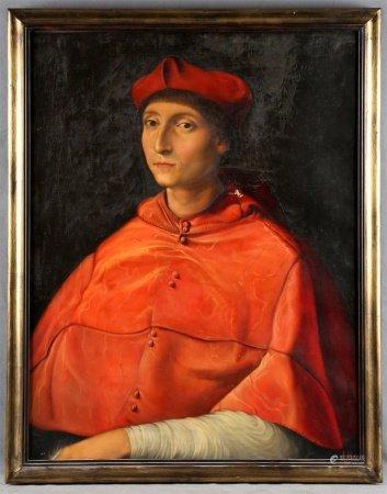"""HERRERO, JOSÉ. SIGUIENDO MODELOS DE RAFAEL. """"Retrato de Cardenal""""."""