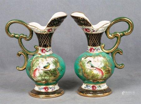 H. BEQUET QUAREGNON. Pareja de jarras belgas, estilo Napoleón III.