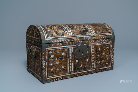 A Japanese gilt-lacquered mother-of-pearl inlaid Namban coffer for the Portuguese market, Edo, 17th C.