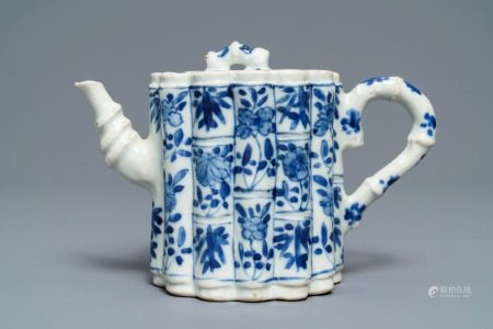 A Chinese blue and white bamboo-shaped teapot and cover, Kangxi