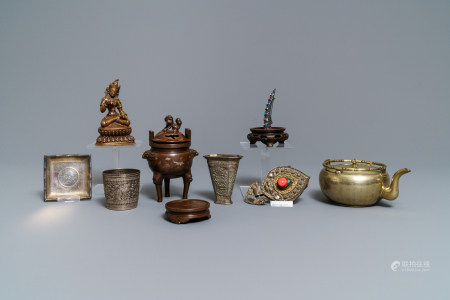 A varied collection of Chinese and Asian metalware, incl. paktong, silver and gilt bronze, 17th C. and later