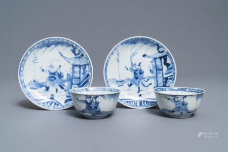 A pair of Chinese blue and white cups and saucers with figures, Ca Mau wreck, Yongzheng