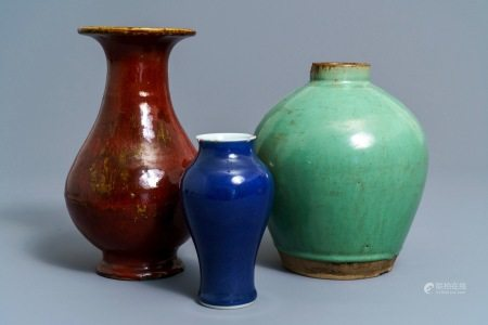 Three Chinese monochrome vases incl. a Yixing stoneware example, 19/20th C.