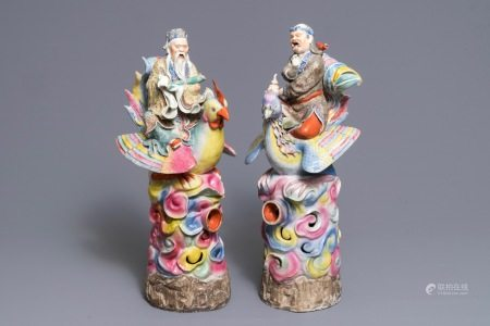 A pair of large Chinese famille rose figures of immortals on phoenixes, 19th C.