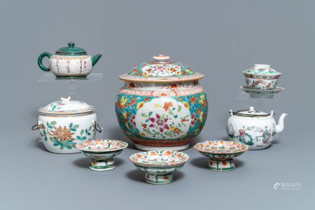 A collection of Chinese famille rose porcelain and a Yixing stoneware teapot, 18/19th C.