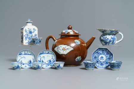 A large Chinese 'capucin' teapot, a blue and white spittoon and various tea wares, Kangxi/Qianlong