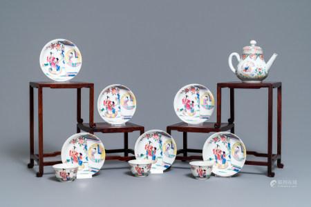 A Chinese famille rose teapot, six saucers and three cups, Yongzheng/Qianlong