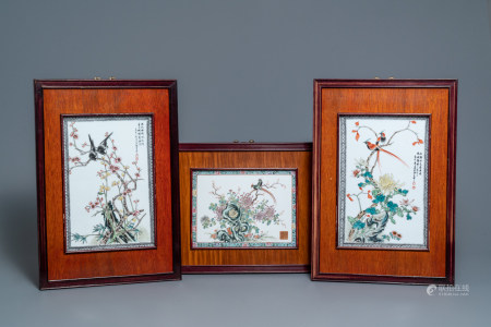 Three Chinese famille rose plaques with birds among flowers, 2nd half 20th C.