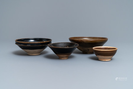 Four Chinese brown- and black-glazed bowls, Song and Yuan