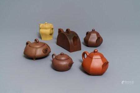 Six Chinese Yixing stoneware teapots, 19/20th C.
