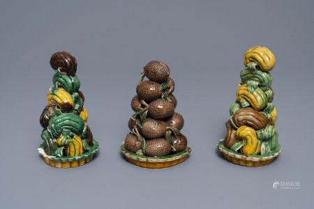 Three Chinese verte biscuit fruit pyramids, Kangxi