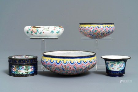 A collection of various Chinese Canton enamel wares, 18/19th C.