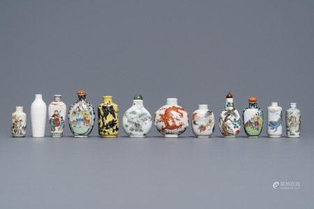 Twelve Chinese famille rose and verte porcelain snuff bottles, 19/20th C.
