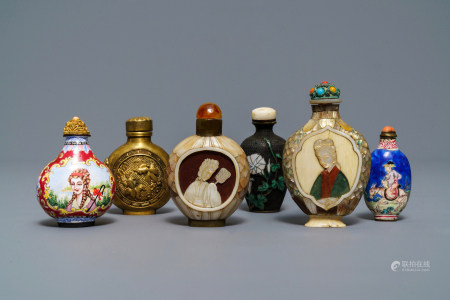 Six Chinese Canton and Beijing enamel, mother of pearl and gilt brass snuff bottles, 18/19th C.