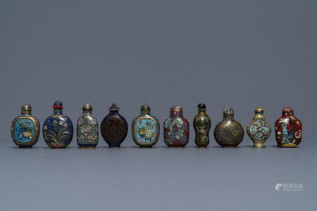 Ten Chinese cloisonné snuff bottles, 19/20th C.