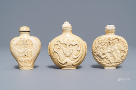 Three Chinese carved ivory snuff bottles, 19th C.