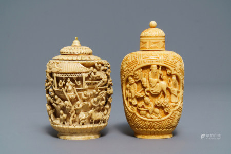 Two Chinese carved ivory snuff bottles, 19th C.