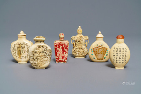 Six Chinese carved ivory snuff bottles, 19/20th C.