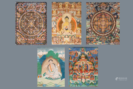 A collection of five thangkas, Tibet, 19/20th C.