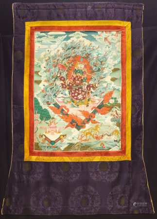 A framed 'Rahula' thangka, Tibet, 19th C.