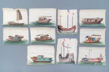Ten Chinese Canton rice paper paintings of junks, 19th C.