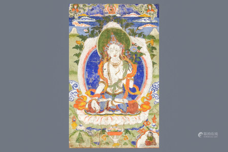 A 'White Tara' thangka, Tibet, 18/19th C.