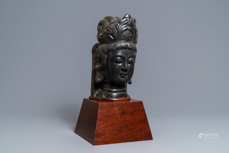 A Chinese carved stone head of Guanyin, prob. Ming