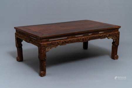 A low Chinese rectangular wooden table, kangzhuo, Ming or later