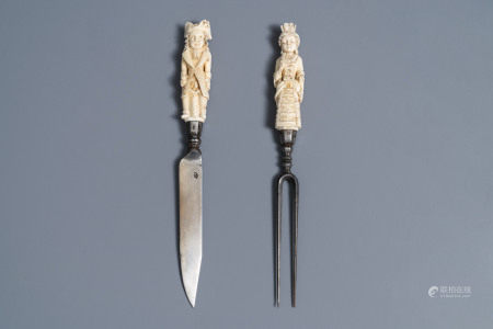 A pair of Hispano-Philippine or Indo-Portuguese erotical ivory-handled knife and fork, 17th C.