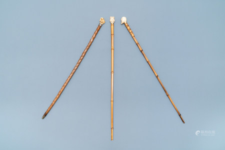 Three ivory-handled canes, 19th C.