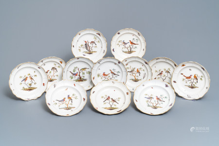 Twelve polychrome Ludwigsburg porcelain ornithological plates, Germany, 2nd half 18th C.