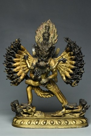 A QING GILT BRONZE FIGURE OF YAMANTAKA 18TH C