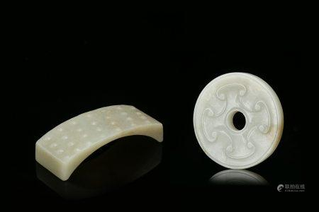 Two Chinese Hetian White Jades Bi and Ink Stand