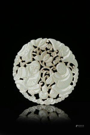 A Chinese Hetian White Jade Hehe Immortals Qing