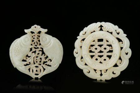 Two Chinese Carving Hetian White Jades Qing