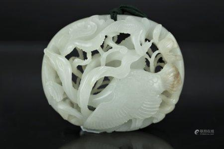 A Hetian White Jade Carved Wild Goose Qing