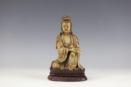 A Shoushan Stone Guanyin with base 19th century