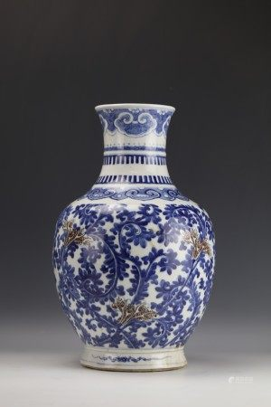 A Blue and White Underglaze-Red  Porcelain Vase
